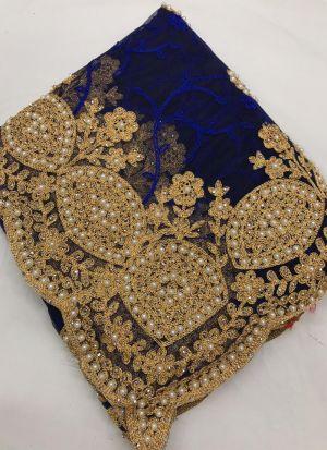 Amazing Navy Hand Work Wedding Wear Saree