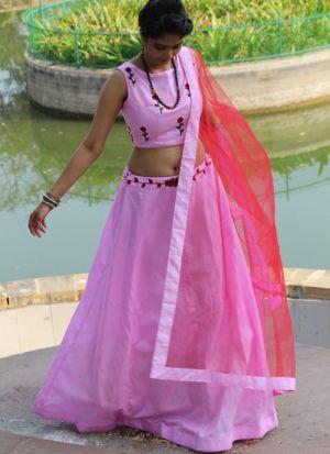 Amazing Pink Plain Banglori Silk Bridal Lehenga Choli
