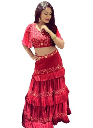 Anika Fancy Maroon Satin Thread Work 3 Layer Ruffle Lehenga Choli