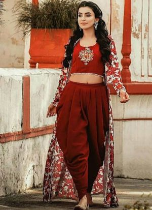 Ankita Sharma Maroon Digital Printed Dhoti Suit