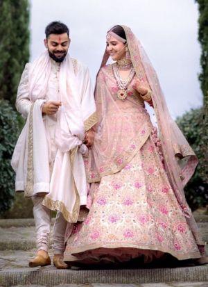Anushka Sharma Cream Bridal Lehenga Choli