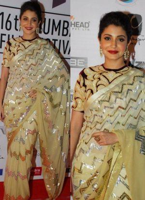 Anushka Sharma Light Yellow Georgette Saree
