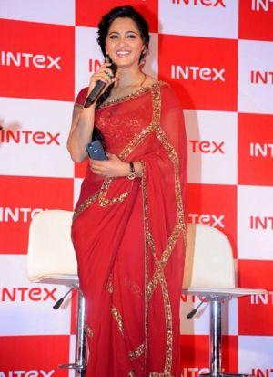Anushka Shetty Red Georgette Saree