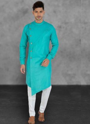 Aqua Color Kurta With Cotton Pajama