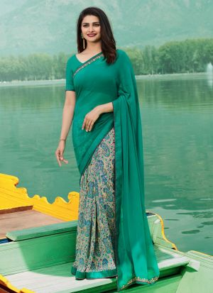 Aqua Green Georgette Beautiful Printed Saree