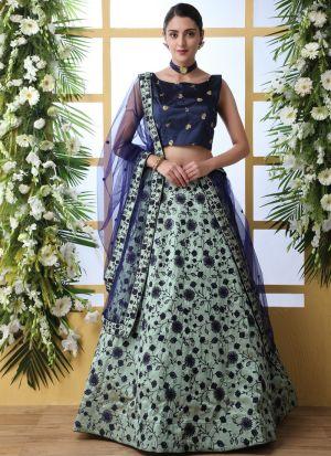 Art Silk Mint Green New Arrivals Lehenga Choli Collection
