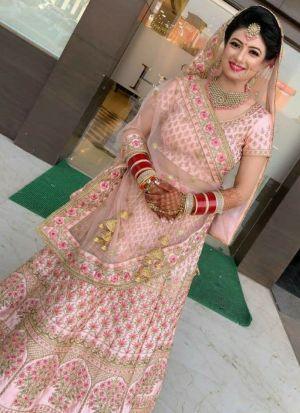 Attractive Baby Pink Embroidery Lehenga Choli