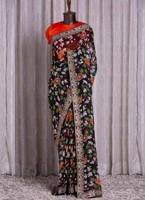 Attractive Black Printed Saree