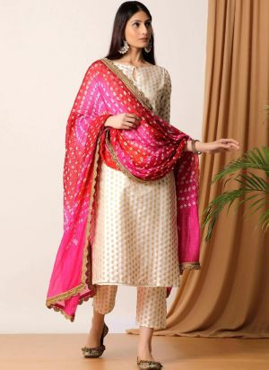 Attractive Cream Jacquard Pant Style Suit