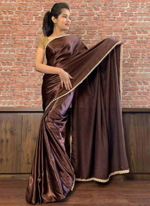 Attractive Dark Brown Moti Work Saree