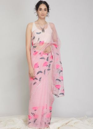 Attractive Digital Print Baby Pink Organza Silk Saree