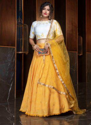 Attractive Embroidered Yellow Lehenga Choli