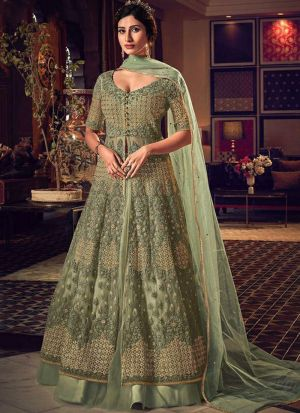 Attractive Embroidery Fern Green Net Salwar Suit