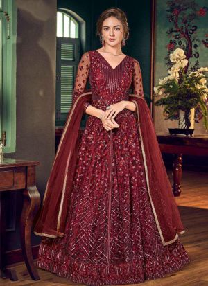Attractive Heavy Embroidered Net Maroon Gown