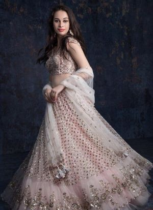 Attractive Light Pink Net Lehenga Choli