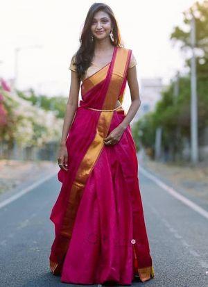 Attractive Magenta Pink Digital Print Lehenga Choli