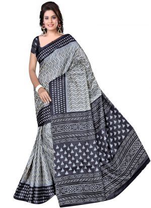 Attractive Multi Color Printed Rice Silk Saree