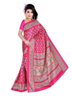 Attractive Multi Color Rice Silk Printed Saree