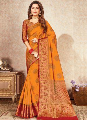 Attractive Mustard Beautiful Naylon Silk Saree