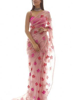 Attractive Pink Organza Embroidery Saree