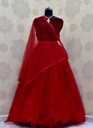 Attractive Stone Work Party Wear Red Lehenga Choli