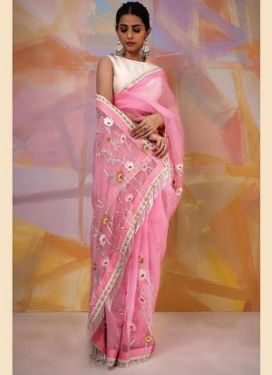Attractive Thread Embroidered Baby Pink Saree