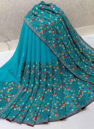 Attractive Turquoise Blue 60 Gm Georgette Saree