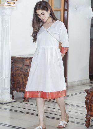Attractive White Cotton Short Kurti