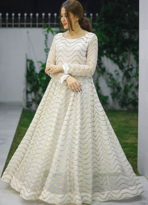Attractive White Georgette Thread Work Fancy Gown