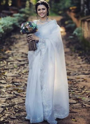 Attractive White Khadi Organza Silk Saree