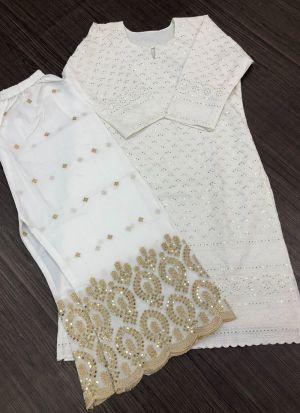 Attractive White Pc Cotton Palazzo Suit