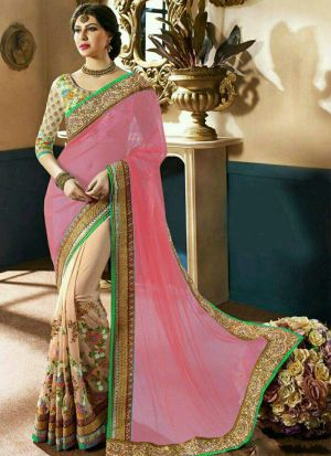 Authentic Baby Pink Half And Half Net Saree