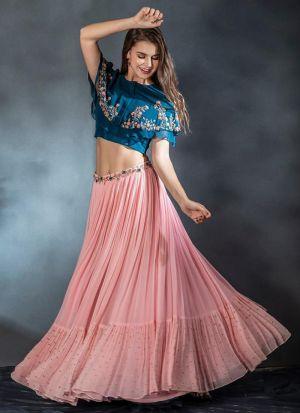Authentic Baby Pink Zari Embroidered Lehenga Choli