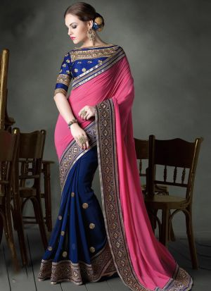 Authentic Half And Half Navy Georgette Saree