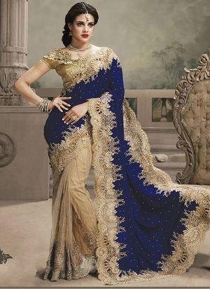 Authentic Half And Half Royal Blue Saree