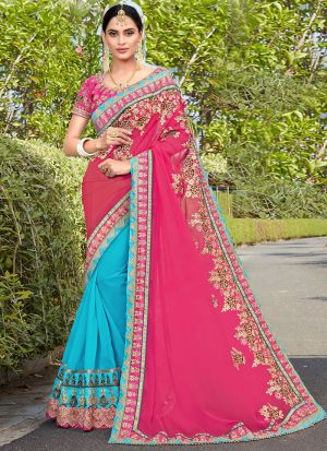 Authentic Half And Half Sky Blue Georgette Saree