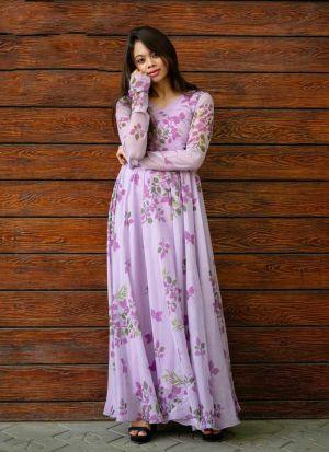 Authentic Light Purple Printed Dress