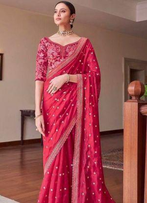 Authentic Red Dola Silk Saree