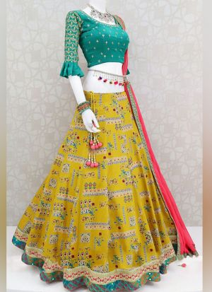 Authentic Yellow Digital Print Lehenga Choli With Contrast Dupatta