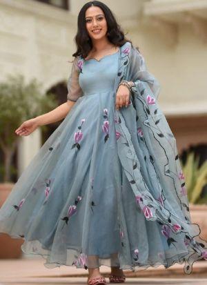 Baby Blue Organza Silk Salwar Suit