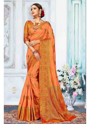 Baby Orange Nylon Silk Traditional Saree Collection