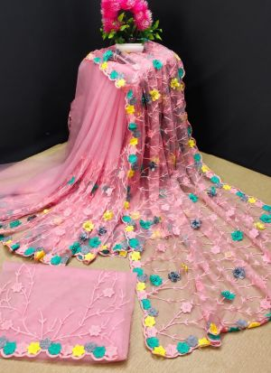 Baby Pink Butterfly Net Saree