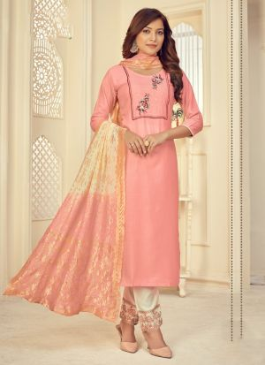 Baby Pink Embroidery Work Suit