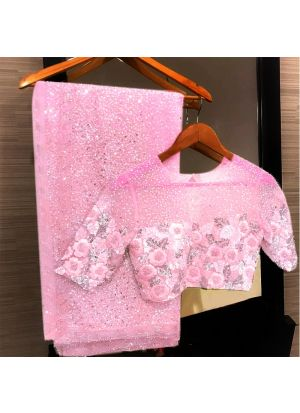 Baby Pink Georgette Bamberg Traditional Saree