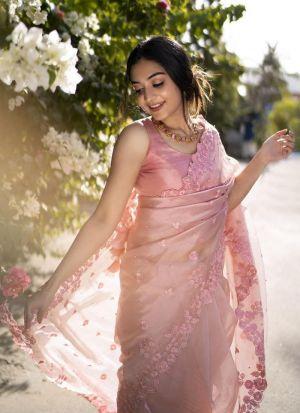 Baby Pink Heavy Organza Silk Party Wear Saree