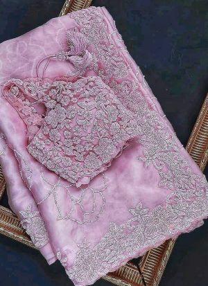 Baby Pink Heavy Pure Organza Tissue Saree