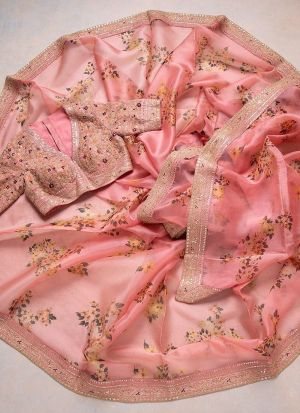 Baby Pink Khadi Organza Wedding Saree
