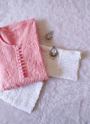 Baby Pink Maska Cotton Fancy Thread Work Suit