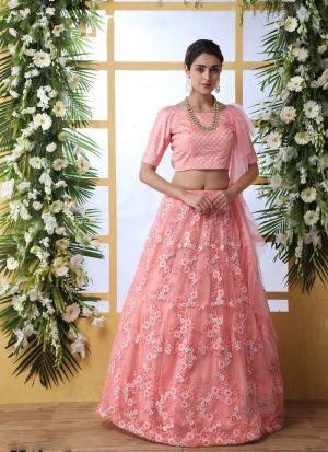 Baby Pink Net Party Wear Lehenga Choli