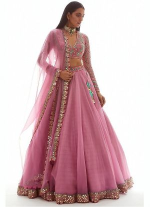 Baby Pink Organza Silk Lehenga Choli